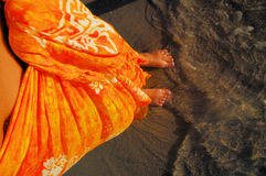 Orange Sarong. Woman with sarong Stock Image