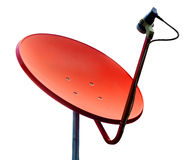 Orange satellite on white background Stock Photos
