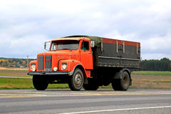 Orange Scania L85 Super Truck on the Road Royalty Free Stock Images