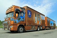 Orange Scania Trailer Truck with James Bond Theme Stock Images