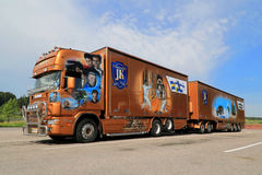 Orange Scania Trailer Truck with James Bond Theme Stock Images