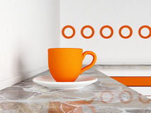 Orange Schale auf dem Tisch, 3d Stockbild