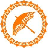 Orange Schattenbildregenschirm aufwändig, Logo in einem Kreis auf einem weißen b vektor abbildung