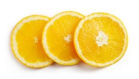 Orange Scheiben auf Weiß, von oben Lizenzfreie Stockfotografie
