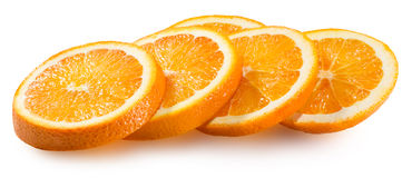 Orange Scheiben lokalisiert auf dem weißen Hintergrund Stockfotos