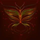 Orange Schmetterling der Vektorillustration mit Funken Lizenzfreies Stockbild