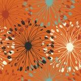 Orange Schmutzradialstrahlmuster Nahtloser Hintergrund des dekorativen Flourish für Karten, Handwerk, Gewebe, Tapeten, Webseiten  stock abbildung