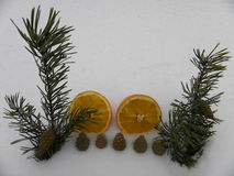 Orange Schneejahr mit Tannenzweigen Stockbild