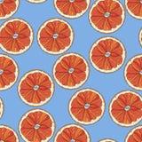 Orange schneidet nahtloses Muster auf blauem Hintergrund stock abbildung