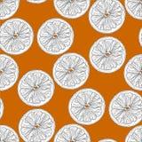 Orange schneidet nahtloses Muster in Schwarzweiss auf orange Hintergrund stock abbildung