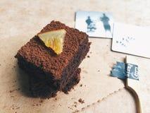 Orange Schokoladenkuchen Stockbild