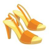 Orange Schuhe des offenen Rückens mit anckle Bügel Lizenzfreies Stockfoto
