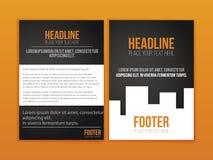 Orange schwarze Broschüren-Broschüren-Fliegerschablone, Bucheinband, Darstellungsschablonen Lizenzfreies Stockfoto