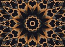 Orange schwarzer Kaleidoskopmuster-Zusammenfassungshintergrund Punkt, Lautsprecher, industrieller Hintergrund Abstrakter Fractalk stock abbildung