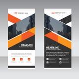 Orange schwarzes Dreieck Geschäft rollen oben flache Designschablone der Fahne Stockfotografie