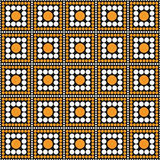 Orange, Schwarzweiss-Polka-Dot Square Abstract Design Tile-PA Stockfoto