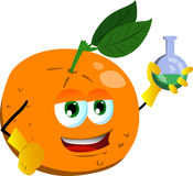 Orange scientist holds beaker of chemicals Stock Photos
