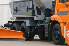 Orange scraper - part of truck constriction vehicle Stock Photography