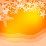 Orange sea and starfish illustration Royalty Free Stock Photography