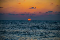 Orange Sea Sunset in the Tel-Aviv royalty free stock photography