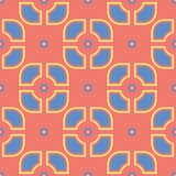 Orange seamless pattern. Bright geometric background with blue and yellow design. For wallpapers and textile Royalty Free Stock Image