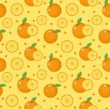 Orange seamless pattern. Mandarin citrus endless background, texture. Fruits background. Vector illustration. Royalty Free Stock Images