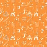 Orange seamless pattern-medical items Stock Photos