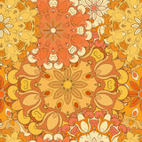 Orange seamless pattern for oriental print or decoration. Japanese designed flowered motif. Eastern, arabic, indian Royalty Free Stock Photo