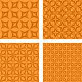 Orange seamless pattern set. Orange seamless curved pattern wallpaper set Stock Photo