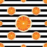 Orange seamless pattern and Striped black and white background Stock Photography