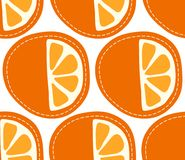 Orange seamless pattern on transparent background, sliced citrus fruit Stock Photos