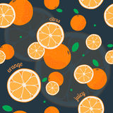Orange seamless pattern. Vector illustration for natural dessert design. Endless texture can be used for fills, web page background, surface. Elements: citrus Royalty Free Stock Photo