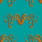 Orange seamless vintage pattern with floral elements abstract ornament on the background color of a sea wave Stock Image
