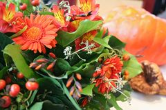 Orange season bouquet Stock Photo