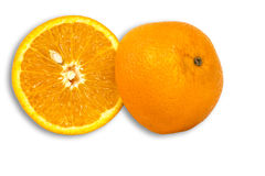 Orange with seed cut in half. On white background Royalty Free Stock Photography