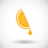 Orange segment with drop of juice  flat icon Stock Photo