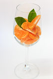 Orange segment i exponeringsglas Arkivfoton
