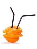 Orange segments with two  straw Stock Photo