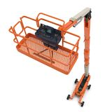 Orange self propelled articulated wheeled lift with telescoping boom and basket on white. 3D illustration Stock Photos