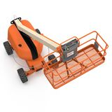 Orange self propelled articulated wheeled lift with telescoping boom and basket on white. 3D illustration. Orange self propelled articulated wheeled lift with Royalty Free Stock Photo