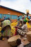 Orange seller in market in Benin royalty free stock photo