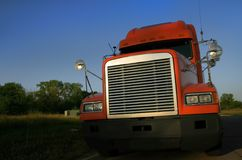 Orange Semi Truck Royalty Free Stock Photo