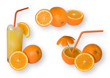 Orange set with clipping path. Set of fresh orange fruits isolated on white with clipping path stock photos