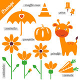 Orange. Set of images as examples of Orange color, for kids, educational purposes, illustrations, page of color book, pumpkin, giraffe, umbrella, pins, traffic royalty free illustration