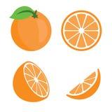 Orange set. Isolated orange on white background stock illustration