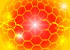 Orange sexhörningscirkel och abstrakt vektorbakgrund för ljus Arkivfoton