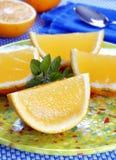 Orange shape jelly dessert royalty free stock images