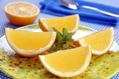 Orange shape jelly dessert Royalty Free Stock Image