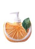 Orange shaped bottle. On white background Stock Images