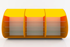Orange shelve. Orange empty shelve design curve style isolate on white background. ,The concept can product and goods taken place to present their work freely Stock Photo